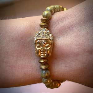 Jewelry - Glass Beaded Pave Bling Buddha Meditation Bracelet